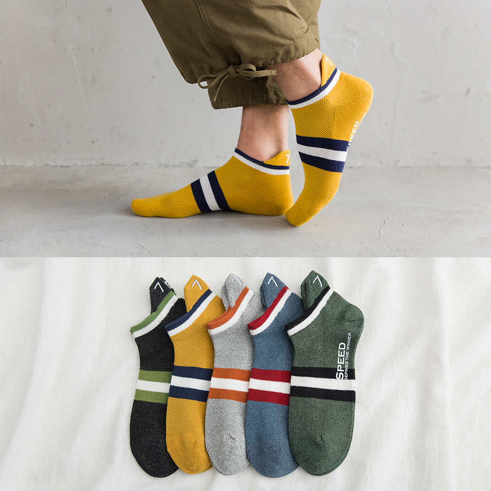 Summer And Spring Cotton Socks Colorful Fashion Men's Boat Socks Embroidery Shallow Sweat-absorbent Men's Socks 5 Pairs