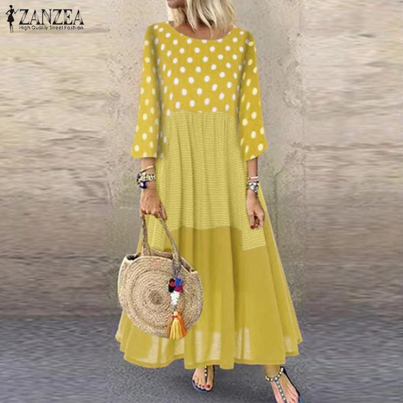 2020 ZANZEA Women Casual Cotton Dress Autumn Vintage Pacthwork Polka Dot Long Sundress Shirt Vestidos Femme Tunic Robe Kaftan