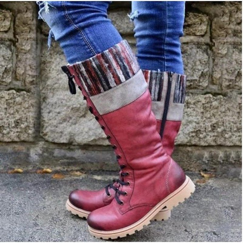 women mid-calf boots chunky low heels shoes woman vintage PU leather autumn warm shoe chaussures femme zapatos mujer sapatoD2152