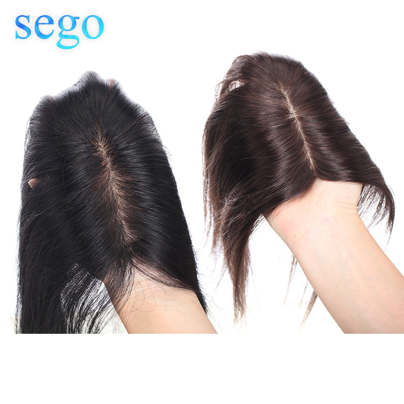 SEGO 12inch 6x13cm Non-Remy Silk Base Hair Toppers Toupee For Women Hair Piece Clip In Hair Extensions 100% Human Hair Straight