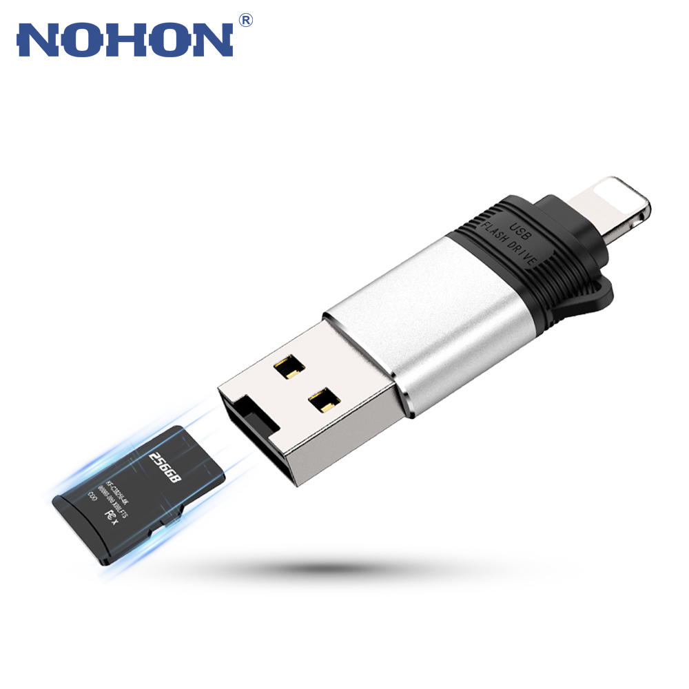3 In 1 USB Adapter For IPhone 11 Pro Max XS XR X 8 7 6 6S Plus TF Memory SD Card Reader Camera OTG USB To Lightning Converter