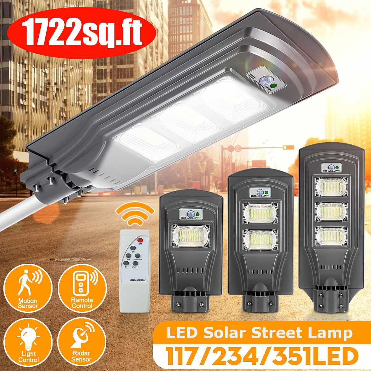LED Solar Street Light with Remote Controller 120W 240W 360W Outdoor Lighting IP65 Waterproof PIR Motion Sensor Garden Path Lmap