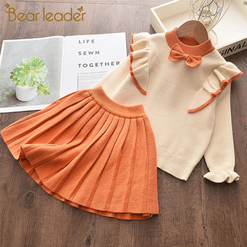 Bear Leader Newborn Girls Warm Dress Cute Autumn Winter New Baby Knitted Clothes Infant Toddler Tops Shirts for Girl Dresses