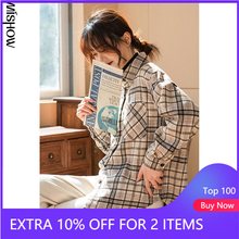 Shirts Tops Plaid MISHOW Clothing Down-Collar Long-Sleeve Office Lady Winter Casual Women