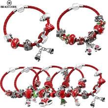 Nouvelle corde en cuir rouge cadeau de noël bijoux bracelet à breloques avec cristal bracelet fin pour femmes fille cadeau direct
