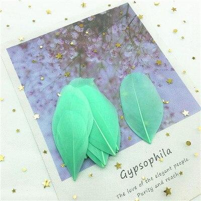 Натуральные гусиные перья 4-8 см, многоцветные белые перья, поделки своими руками, украшения для свадебной вечеринки, аксессуары, 50 шт - Цвет: light  green 50pcs