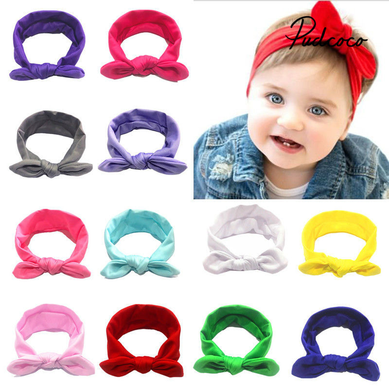 Children Elastic Hair Band Bowknot Headbands Soft Cotton Headwraps Toddlers Stretchy Headwear