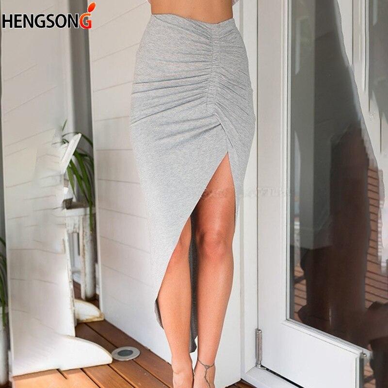 Хит 2020, очаровательные сексуальные женские юбки, женская одежда, женские юбки с разрезом, Необычные тонкие вечерние Облегающие юбки серого