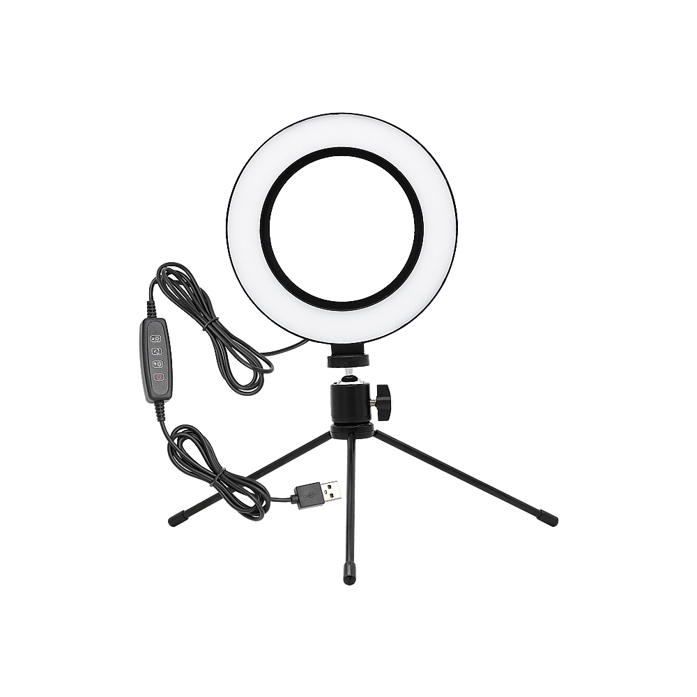 16cm / 21cm Dimmable USB LED Selfie Ring Light Camera Phone Ring Lamp With Table Tripods Stand For Makeup Video Live Studio