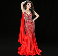 New Luxury Handmade Embroidery Belly Dance Costume Dress One Piece Women Baladi Dancing Outfit Suit Long Wing Sleeve Maxi Skirt(China)