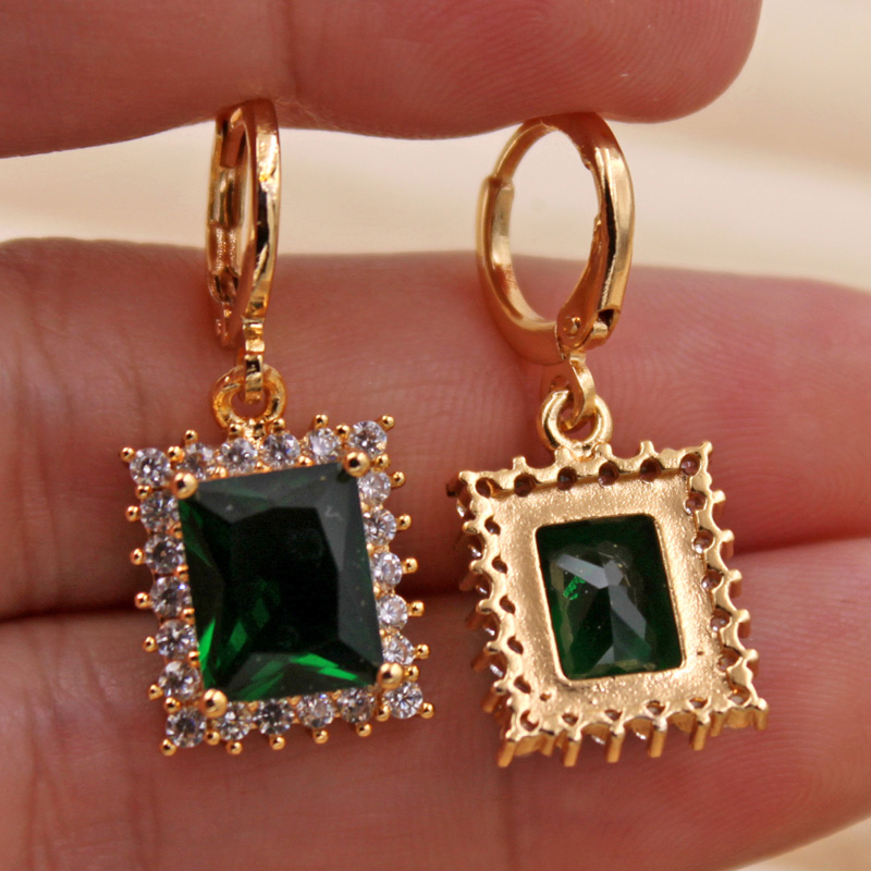H0bac4d7a06504cd0a1434b5270fc1a2ed - Trendy Vintage Drop Earrings For Women Gold Filled  Red Green Pink Lavender Zircon Earrings Gold  Earring Wedding  Jewelry