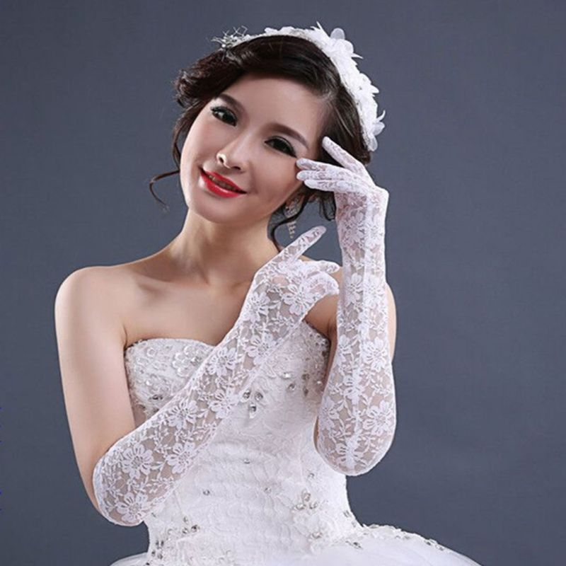 Wedding Dress Accessories Charm Bridal Gloves White Lace With Finger Long Glove Elegant Lady Bride Prom Jewelry LX9E