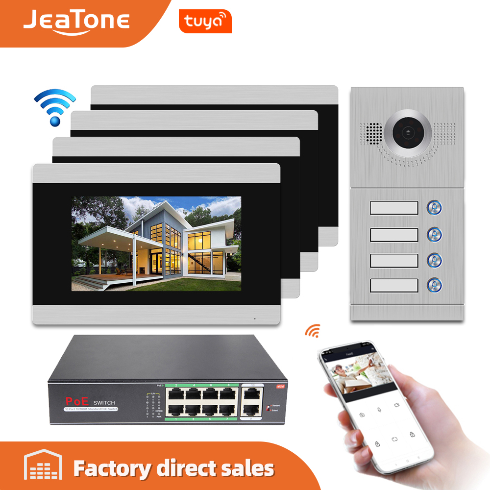 Jeatone 7'' Touch Screen WIFI IP Video Intercom Video Door Phone For 4 Separate Apartments, Support Phone Remote Control