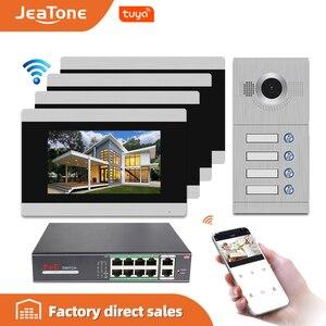 Image 1 - Jeatone visiophone avec écran tactile de 7 pouces, wi fi IP, interphone vidéo pour 4 appartements séparés, compatible télécommande par téléphone
