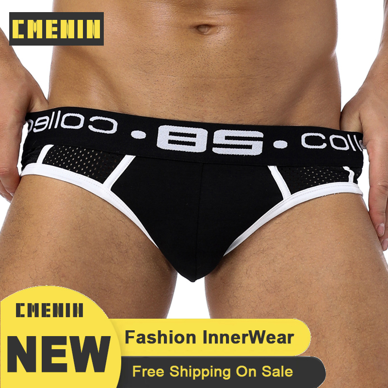 High Quality Sexy Underwear Men Jockstrap Briefs Mesh Gay Men Bikini Underware Brand Cueca Male Panties Jock Strap BS107