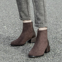 Women sexy ankle boots ladies zipper boots Female boots autumn and winter fashion thick with high heels ladies shoes(China)