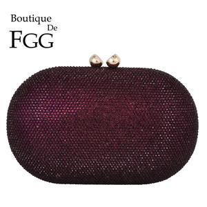 Boutique De FGG Purple Crystal Women Evening Bags and Clutches Ladies Formal Party Diamond Clutch Wedding Purses and Handbags
