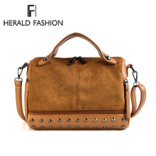 Herald Fashion Large Capacity Leather Female Shoulder Bag Women Top-handle Bags With Rivets Retro Motorcycle Tote Bags 2019 Hot
