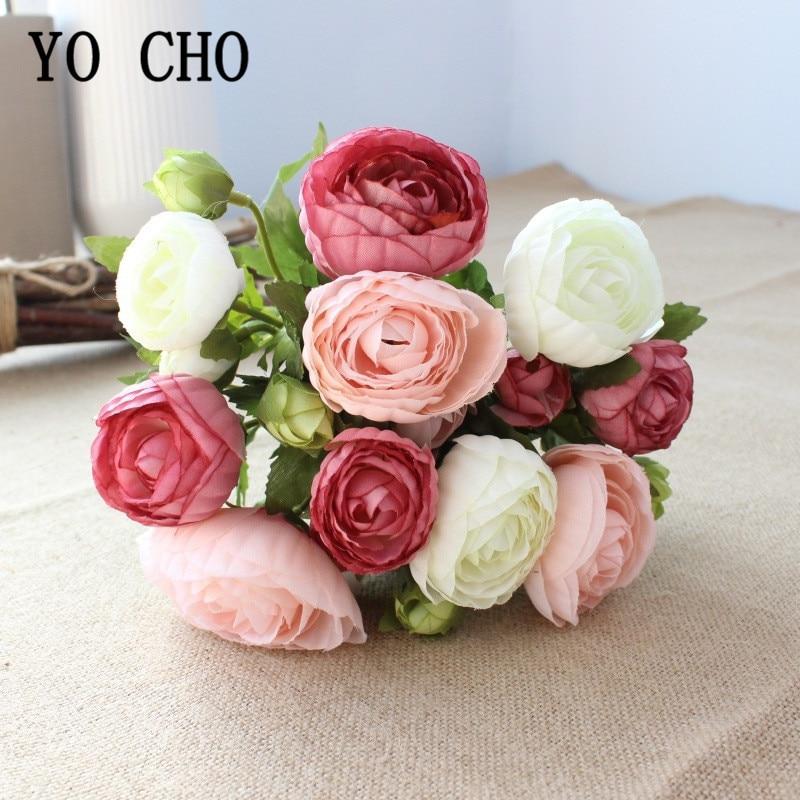 YO CHO 10 Heads Mini Silk Tea Rose Artificial Flower Wedding Bride Hand Bouquet Silk Fake Flower Pink White Home Vase Decoration