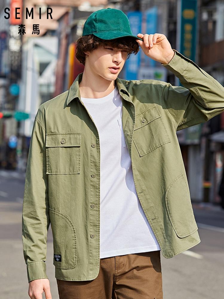SEMIR Long sleeve shirt male 2019 autumn new Korean version trend handsome shirt loose cotton shirt men
