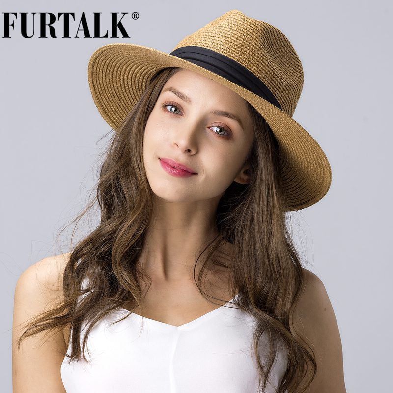 FURTALK Summer Hat For Women Men Panama Straw Hats Travel  Beach Sun Hat Wide Brim Fedora Jazz Hat