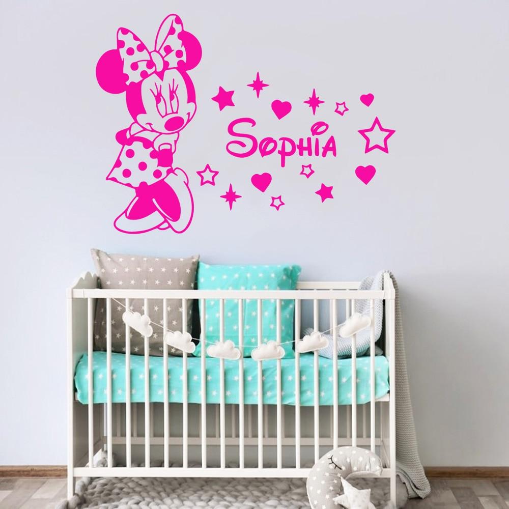 Минни Маус пользовательское имя виниловая наклейка стены Искусство бумага для детской комнаты девушки комнаты домашний декор