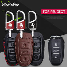 Smart Real Leather Car Key Case Cover For Peugeot 106 206 306 2008 3008 5008 107 207 307 407 607 208 308 SW 408 508 Key Chain(China)