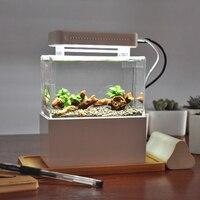Betta Fish Bowl Portable Desktop Aquaponic Aquarium With Water Filtration LED & Quiet Air Pump Mini Plastic Fish Tank For Decor