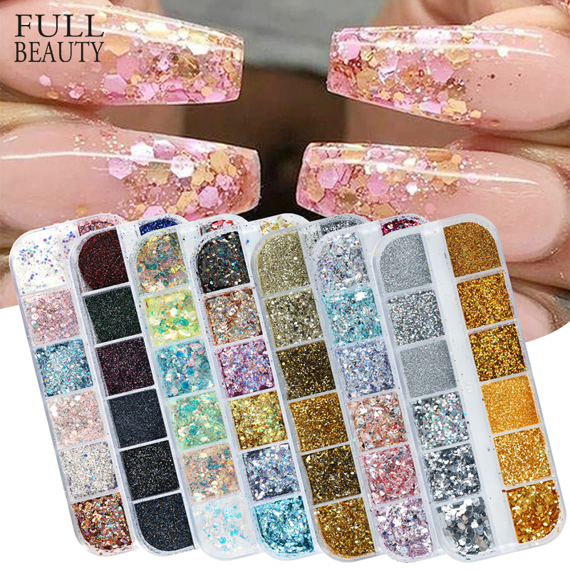 Holographic Nail Glitter Flakes Sequin 12pcs In 1 Rose Gold Silver DIY Butterfly Dipping Powder For Acrylic Nails Tools CH1585