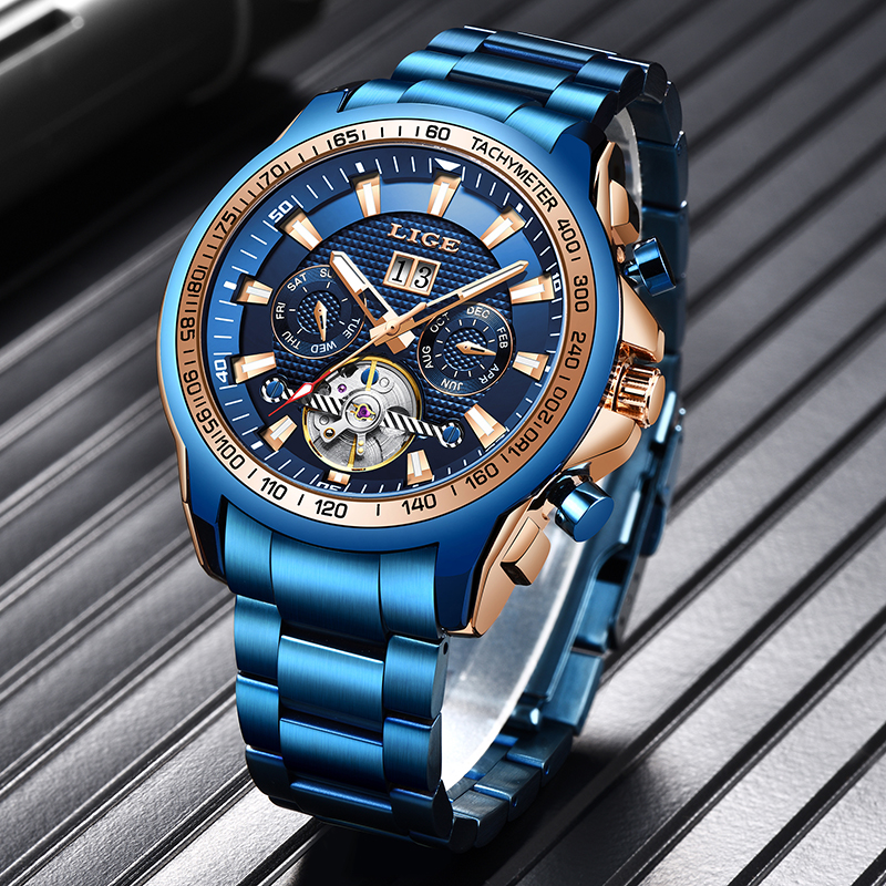 LIGE 2020 New Fashion Mens Watches Top Brand Luxury Automatic Mechanical Clock Watch Men Business Dress Wrist Watch Reloj Hombre