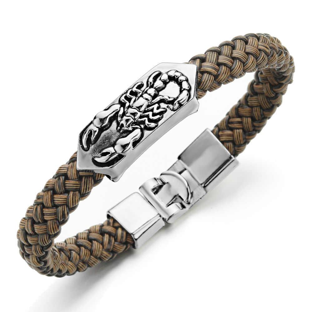 Vintage Scorpion bransoletka Trendy mężczyźni biżuteria PU Leather Charm nadgarstek Pulsera Hombre Punk bransoletki i Bangles S414
