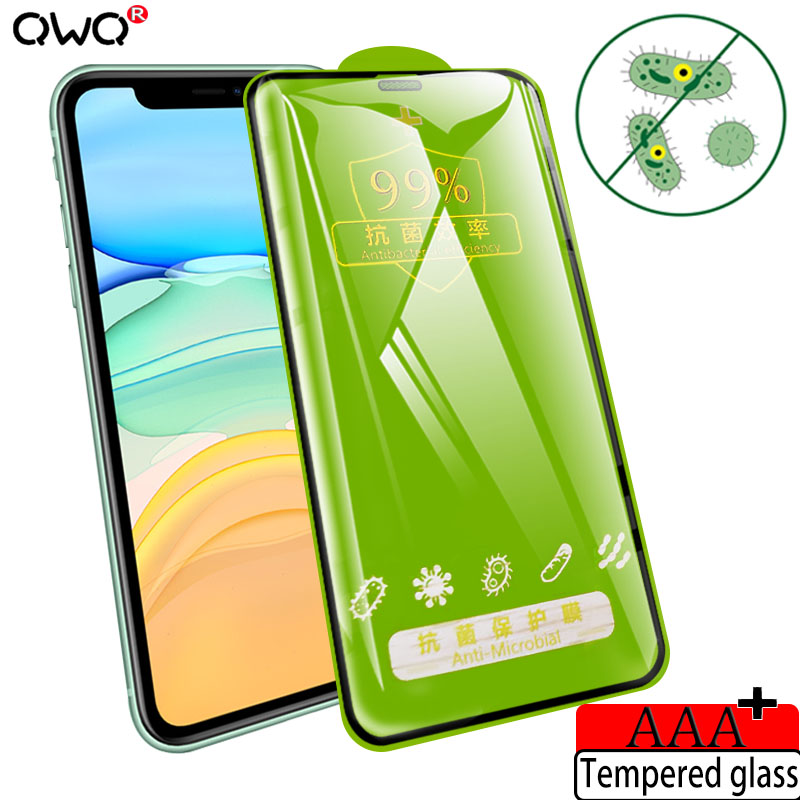 Full Cover Antibacterial Glass For IPhone 11 Pro X XS MAX XR HD Screen Protector For IPhone 6 7 8 Plus Protective Tempered Film