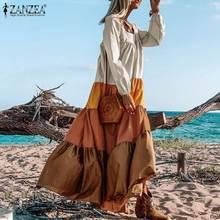 Autumn Women's Bohemian Elegant Long Maxi Dress ZANZEA Lapel Patckwork Ruffle Vestidos Female Casual Puff Sleeves Robe Plus Size