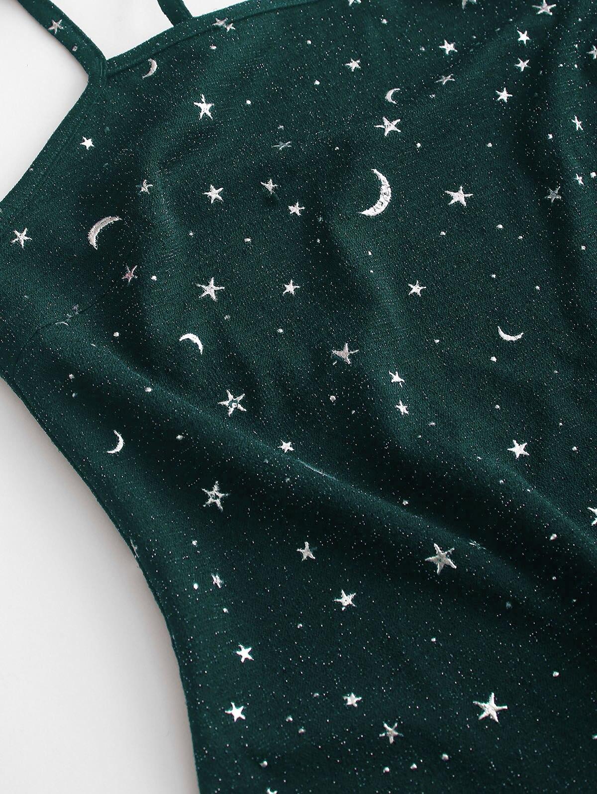 ZAFUL Moon And Star, платье на бретельках с металлическими нитями и разрезом, Звездное платье для женщин, без рукавов, на бретельках, женское облегающее повседневное мини-платье