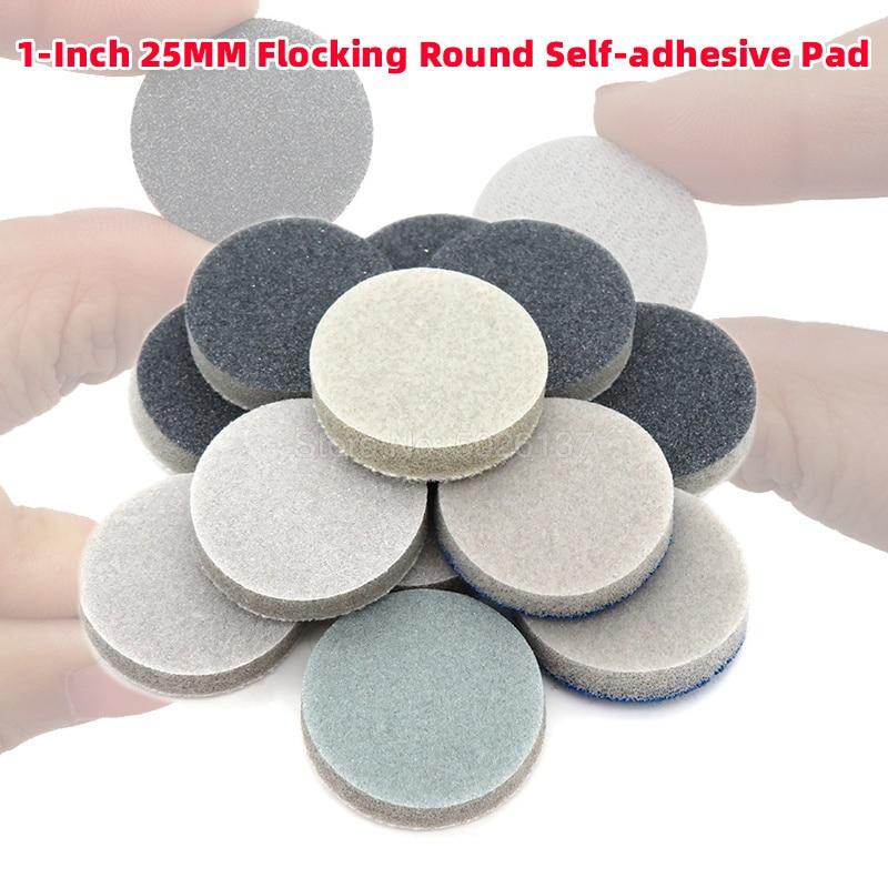 10Pcs 1-Inch Flocking Round Self-adhesive Back Velvet Sponge Disc Sandpaper Dry Water Sanding Paper Polishing Grinding Tool