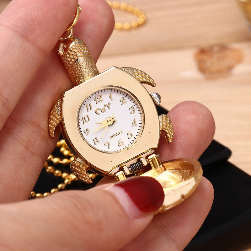 Golden turtle vintage steampunk pocket watch quartz necklace pocket fob watches chain men women fashion clock