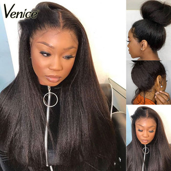 370 Lace Frontal Wig For Black Women 13x6 Lace Front Human Hair Wig With Baby Hair Yaki Straight Fake Scalp Wig Venice Remy Hair