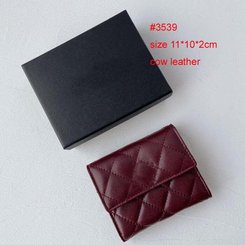 Mens Genuine Cow Leather Case Women Luxury Wallets Fashion Style Hasp Short Card Bag Female Lady Purses With Original Box