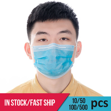 Hot Sale 50 pcs Surgical mask Fast shipping Face Mouth Masks Non Woven Disposable Dustproof Anti-Dust Surgical Masks