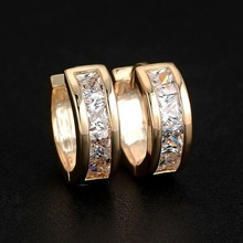 High quality natural zircon round earrings European and American fashion men women jewelry