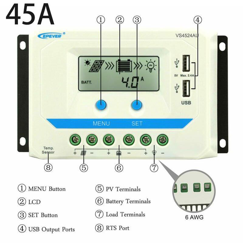2020 New EPEVER PWM Solar Charge Controller 10A 20A 30A 45A  Detection 12V / 24V DC Auto High Quality