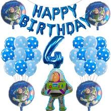 39pcs 이야기 우디 버즈 라이트 이어 만화 호일 풍선 30 Inch 번호 아기 소년 블루 에어 Baloes 생일 파티 장식 아이 장난감
