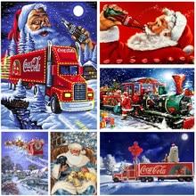 Papai noel caminhão vermelho broca completa quadrado redondo diy 3d pintura diamante kit criança presente de natal diamante mosaico lona cartaz