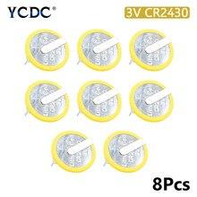 8 pçs/lote 300mah Baterias Botão 2430 Bateria De Lítio de Célula tipo Moeda 3 CR2430 V CR 2430 Com 2 Pinos Para Relógio Eletrônico Brinquedo Remoto