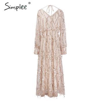 Simplee Sexy v-neck evening women maxi dress Elegant mesh long sleeve sequin night dress autumn lady plus size party dress 2019 10