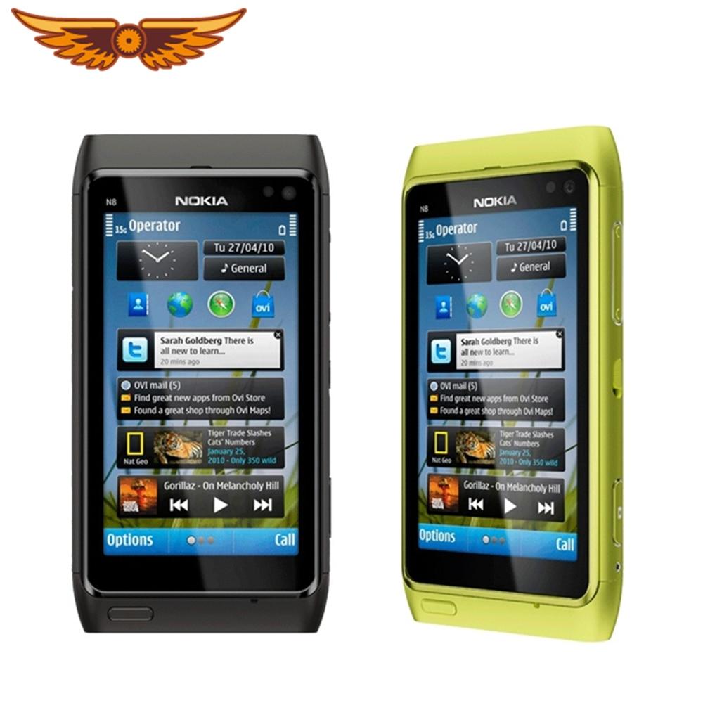 Оригинальный телефон N8 Nokia N8 мобильный телефон 3,5 дюйма, емкостный сенсорный экран, камера 12 МП, 3G, разблокированный сотовый телефон N8, беспла...