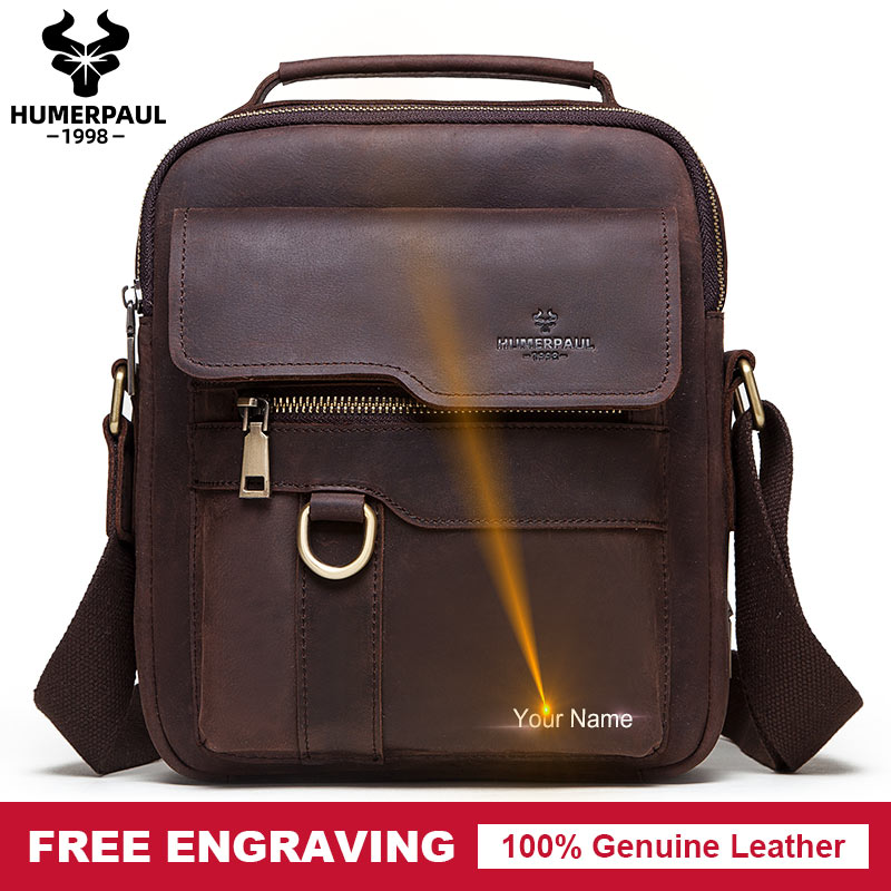 Free Engrave Men Messenger Bags New Fashion Business Casual Crossbody Leather Male Shoulder Bag Large Capacity Sling Sac