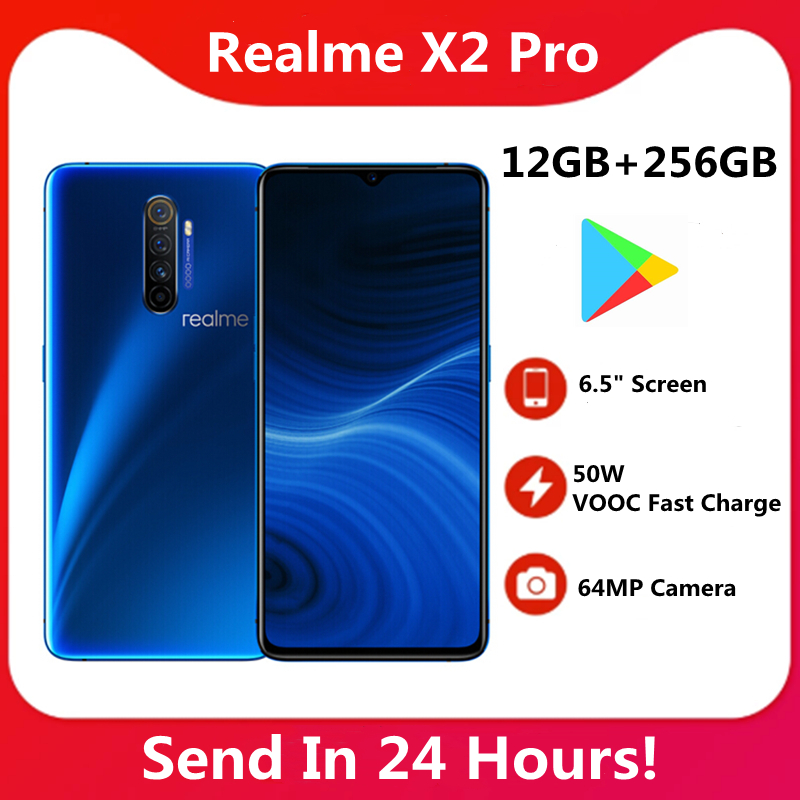 "Original realme x2 pro 12gb 256gb android 6.5 ""snapdragon 855 plus octa-core 64mp câmera 4000mah 50w vooc carga rápida nfc"