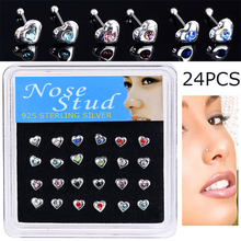 24PCS/Box Heart Shape Fashion Body Jewelry Nose Studs Piercing Colorful Crystal Rings For Women Ear Gifts