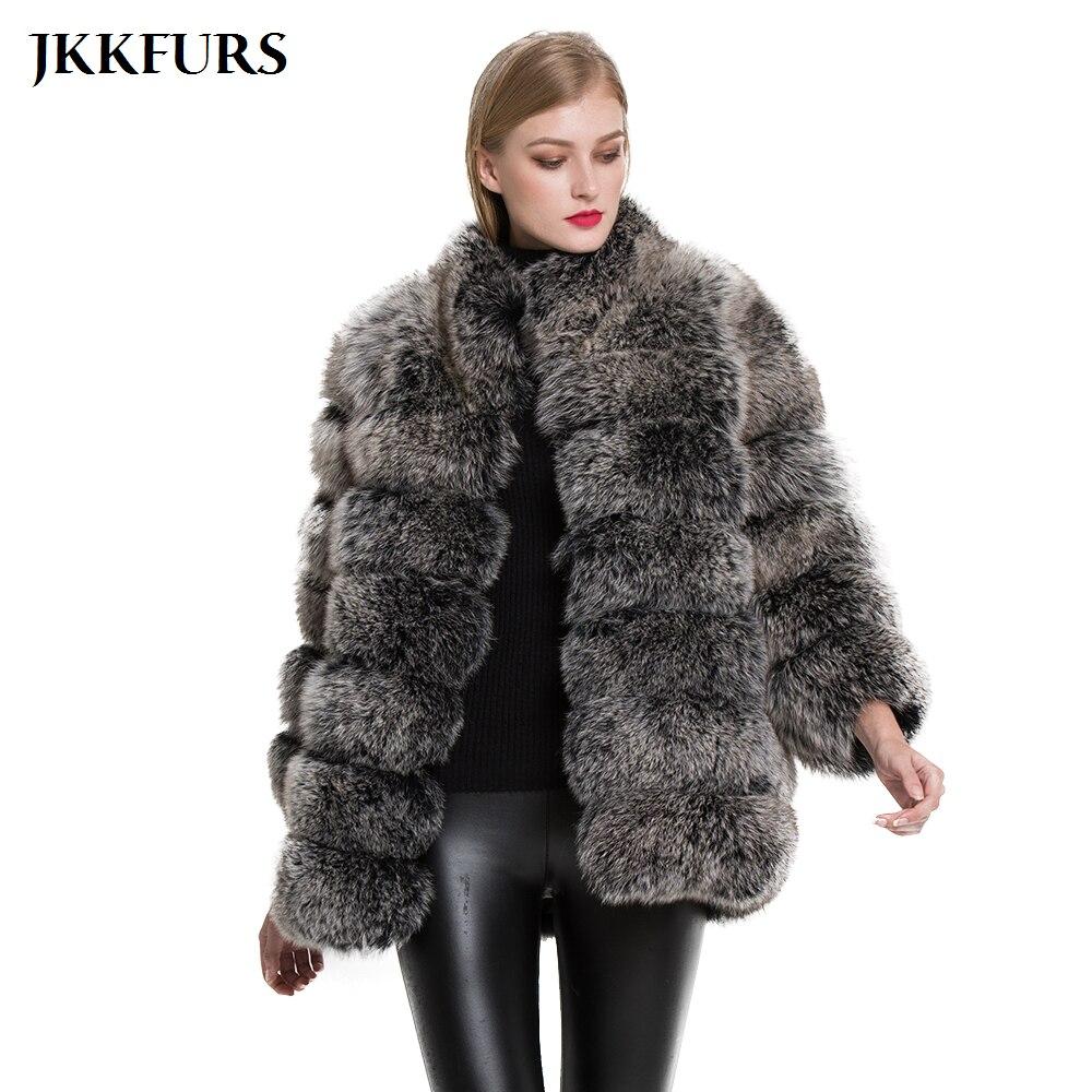 100/% Real Genuine Rabbit Fur with big fox fur pocket lady warm jacket outweaer
